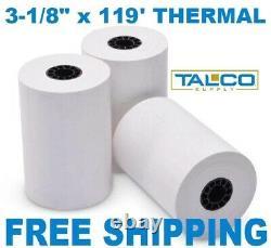 (200) FD-100 3-1/8 x 119' THERMAL RECEIPT PAPER ROLLS FREE SHIPPING