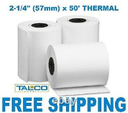 (200) VERIFONE vx520 (2-1/4 x 50') THERMAL RECEIPT PAPER ROLLS FREE SHIPPING
