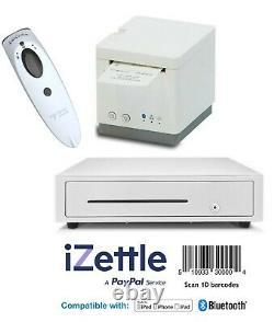 IZettle 2 inch Bluetooth Receipt Printer, Compact Cash Drawer & Scanner White