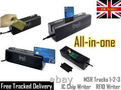 MSR Magnetic Stripe 3 Track Reader IC Contact Chip Writer Smart Card RFID USB