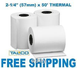2-1 / 4 X 50' Sans Fil Thermique CC Papier Recu 300 Rolls Livraison Gratuite