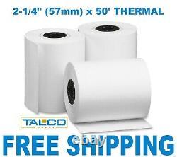 (200) Verifone Vx520 (2-1/4 X 50') Papier Recept Thermique Livraison Gratuite