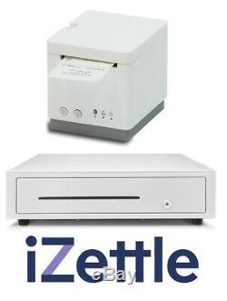 Izettle 2 Pouces Réception Star Micronics Bluetooth Imprimante & Cash Drawer Blanc