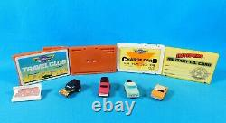 Lot De 4 Vtg 1990 Micro Machine Credit Card Playsets & 4 Cars Withmini Cars Galoob