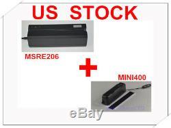Magnétique Swipe Carte De Crédit R / Writer Msre206 + Mini400 Portable Collector Lecteur